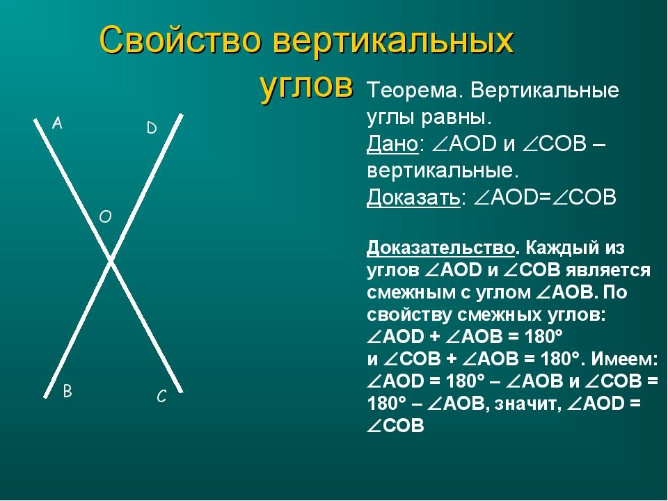 Свойство вертикальных углов Теорема. Вертикальные углы равны. Дано: AOD и C...