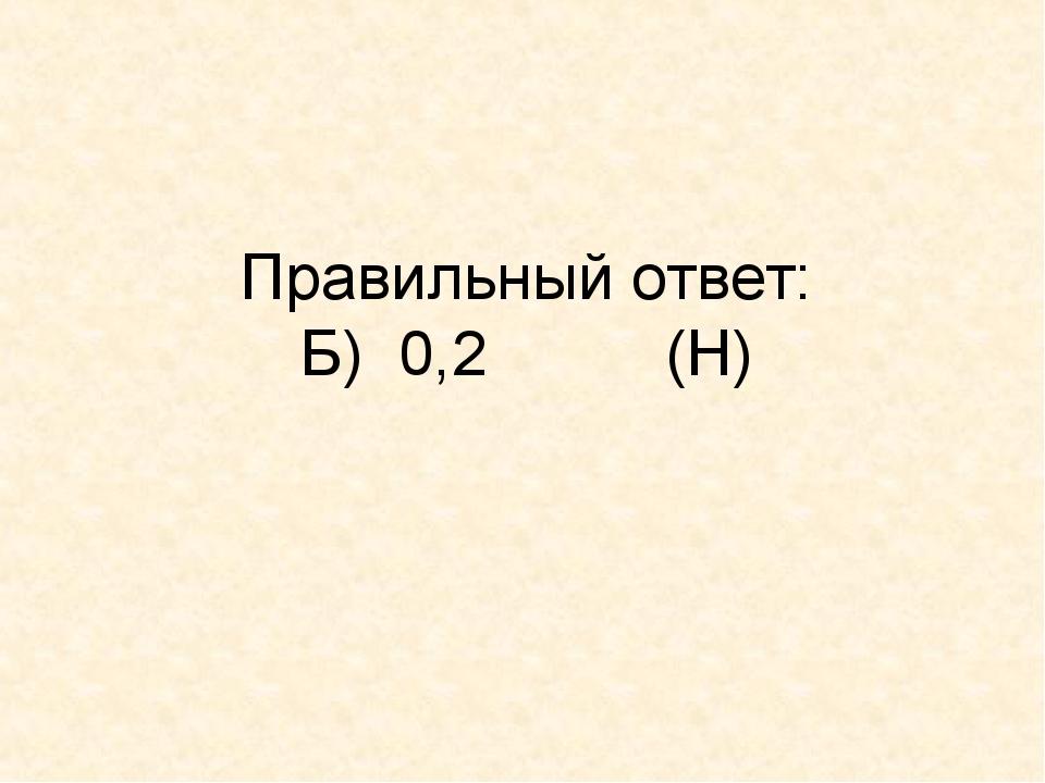 Правильный ответ: Б) 0,2 (Н)