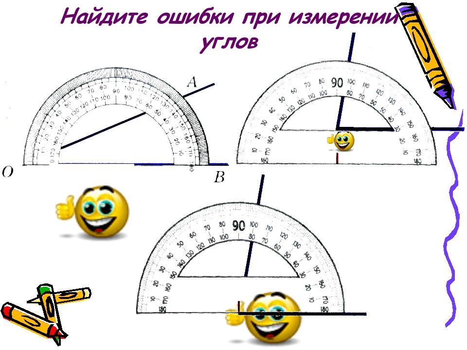 Найдите ошибки при измерении углов