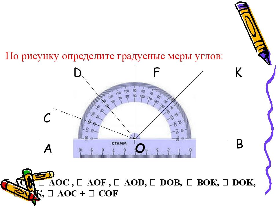 По рисунку определите градусные меры углов: D F K ∠ АОВ, ∠ АОС , ∠ АОF , ∠ А...