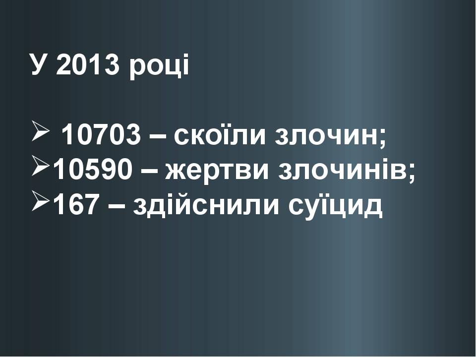 У 2013 році 10703 – скоїли злочин; 10590 – жертви злочинів; 167 – здійснили с...