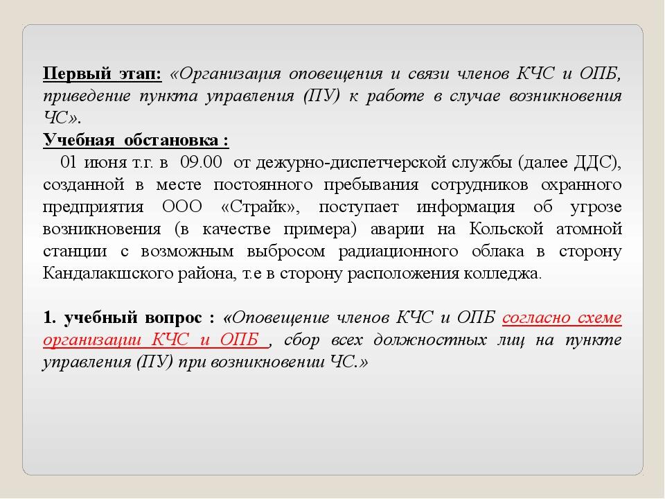 Первый этап: «Организация оповещения и связи членов КЧС и ОПБ, приведение пун...