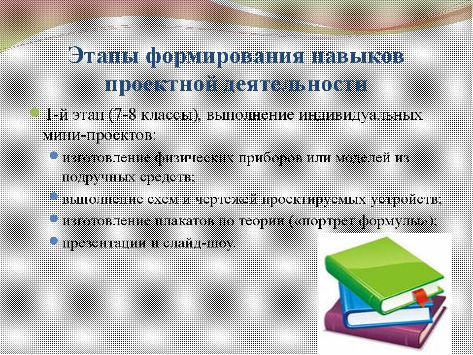 Этапы формирования навыков проектной деятельности 1-й этап (7-8 классы), выпо...