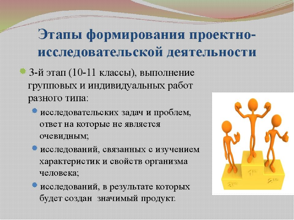 Этапы формирования проектно-исследовательской деятельности 3-й этап (10-11 кл...