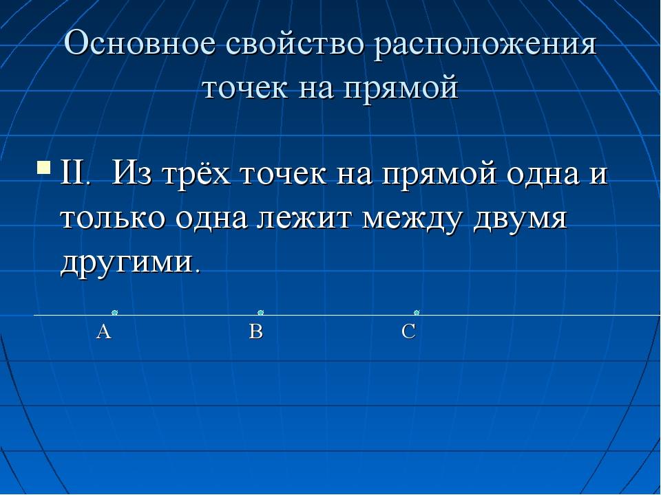 Основное свойство расположения точек на прямой II. Из трёх точек на прямой од...