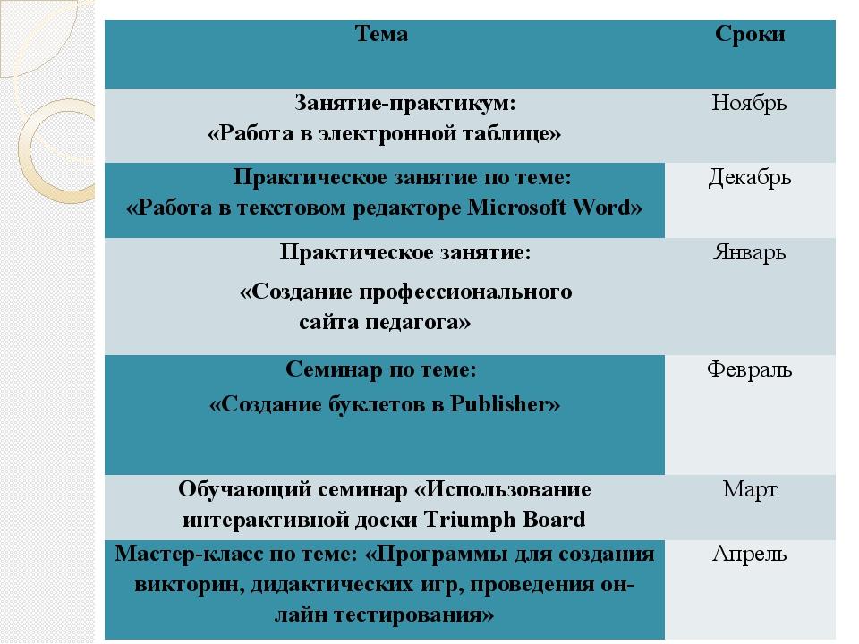 Тема Сроки Занятие-практикум: «Работа в электронной таблице» Ноябрь Практичес...