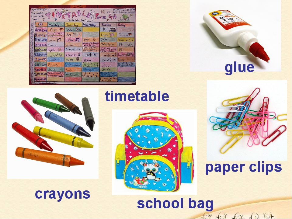 glue timetable crayons paper clips school bag