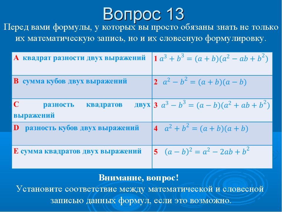 Вопрос 13 Перед вами формулы, у которых вы просто обязаны знать не только их...