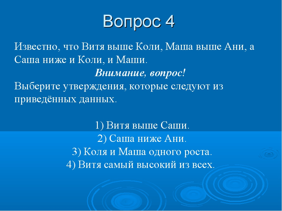 Вопрос 4 Известно, что Витя выше Коли, Маша выше Ани, а Саша ниже и Коли, и М...