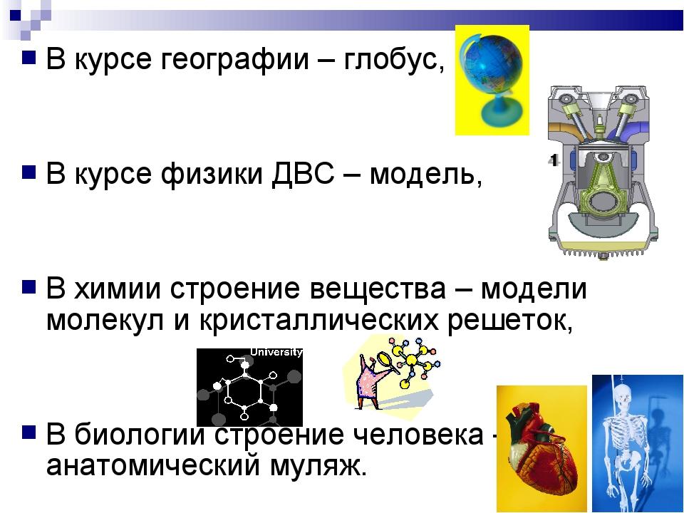 В курсе географии – глобус, В курсе физики ДВС – модель, В химии строение ве...