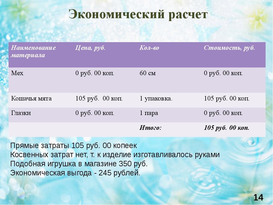 Экономический расчет 14 Прямые затраты 105 руб. 00 копеек Косвенных затрат не...