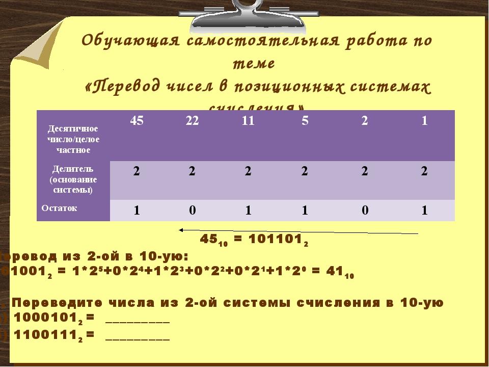 Обучающая самостоятельная работа по теме «Перевод чисел в позиционных система...