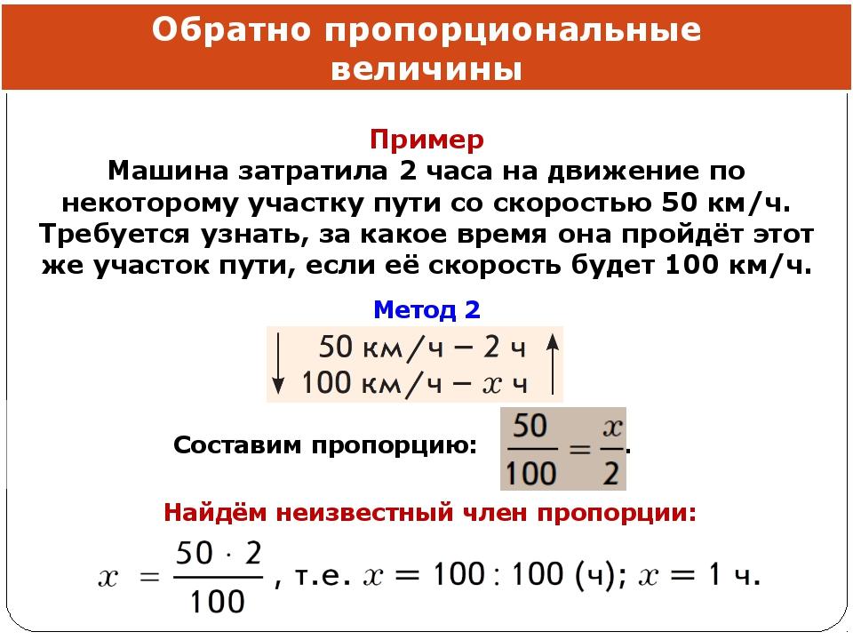 Обратно пропорциональные величины Составим пропорцию: . Найдём неизвестный чл...
