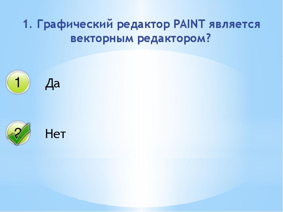 1. Графический редактор PAINT является векторным редактором? Да Нет