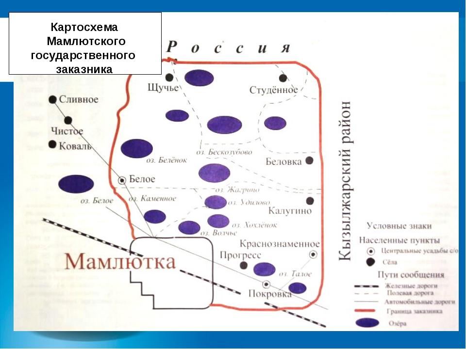 Картосхема Мамлютского государственного заказника