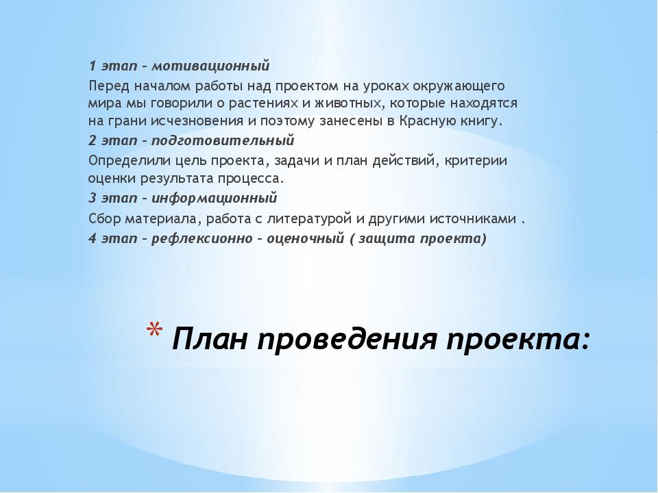 План проведения проекта: 1 этап – мотивационный Перед началом работы над прое...