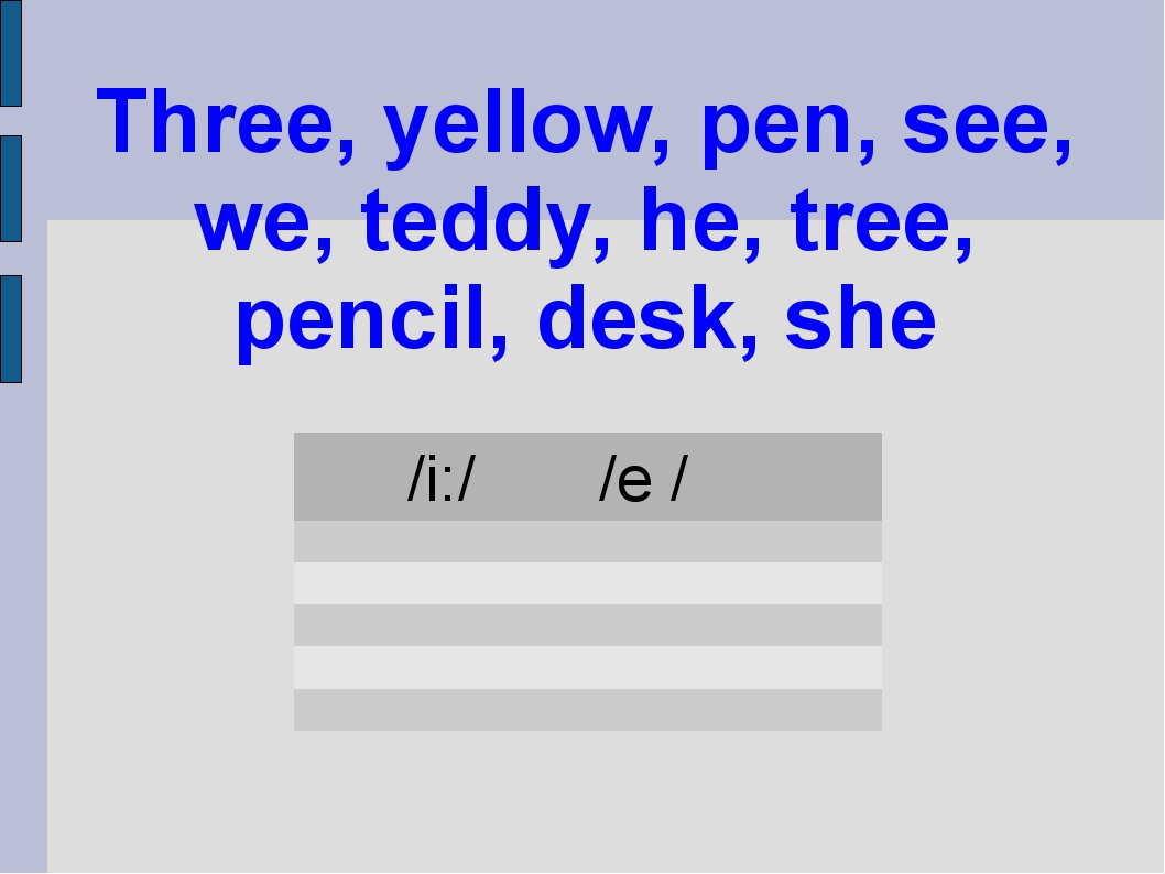 Three, yellow, pen, see, we, teddy, he, tree, pencil, desk, she /i:/	/e /...