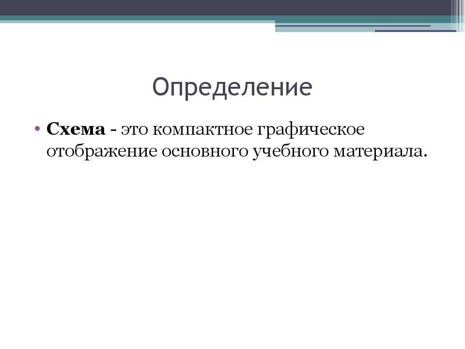 Определение Схема - это компактное графическое отображение основного учебного...