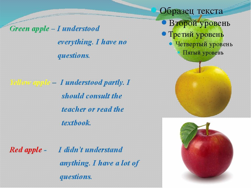 Green apple – I understood everything. I have no questions. Yellow apple – I...