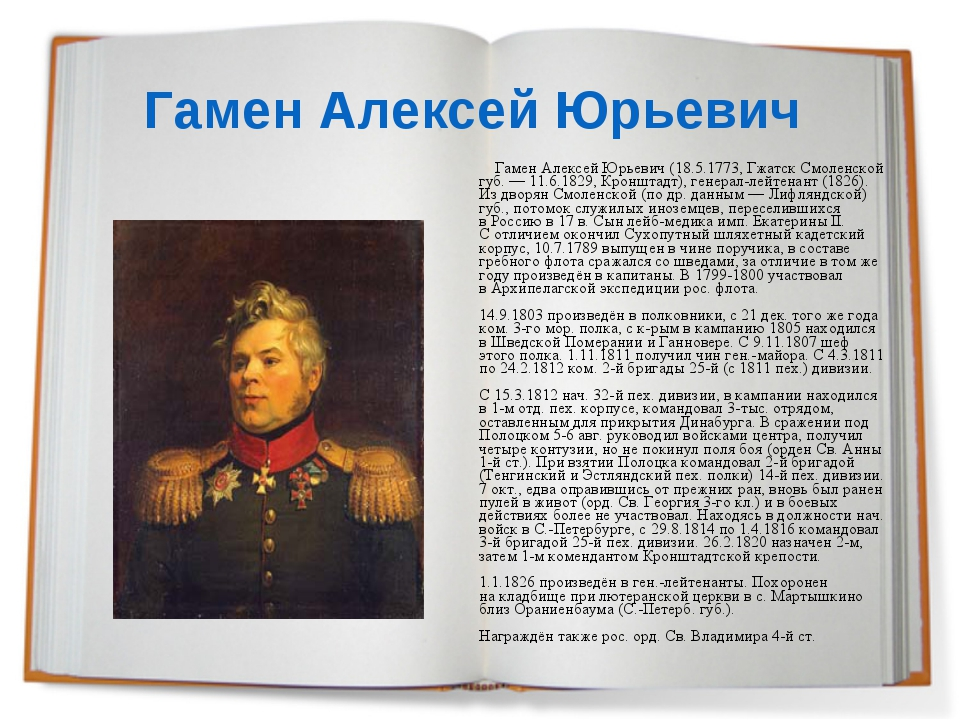 Гамен Алексей Юрьевич Гамен Алексей Юрьевич (18.5.1773, Гжатск Смоленской губ...