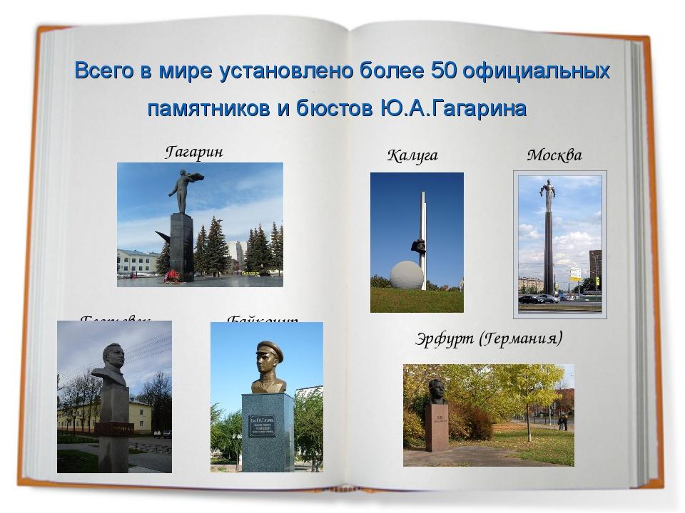 Всего в мире установлено более 50 официальных памятников и бюстов Ю.А.Гагари...