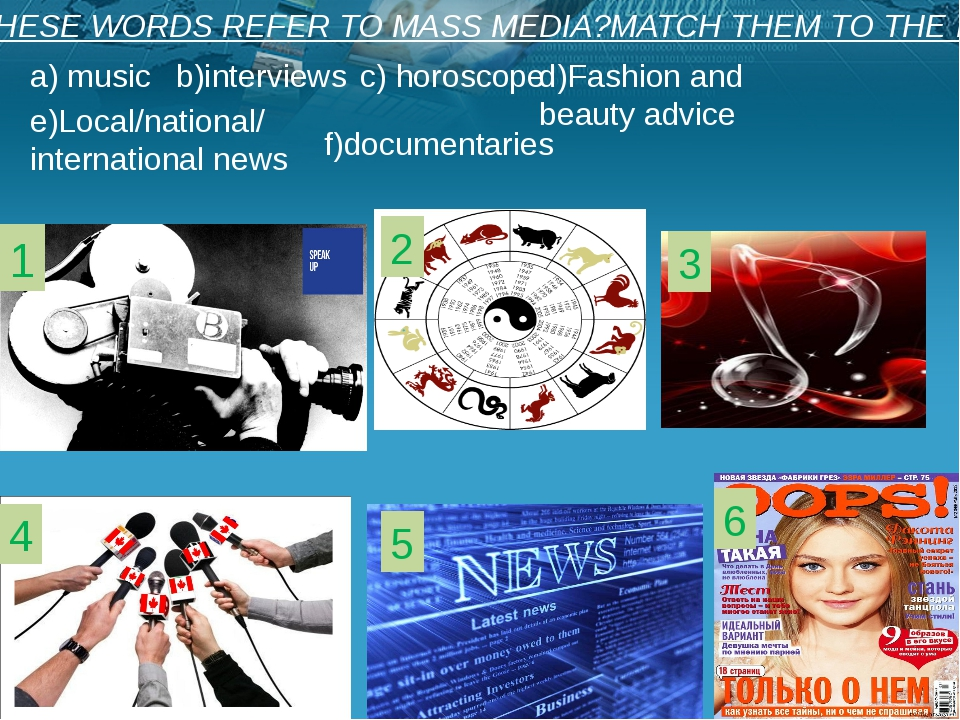1 2 3 4 5 6 DO THESE WORDS REFER TO MASS MEDIA?MATCH THEM TO THE IMAGES a) m...