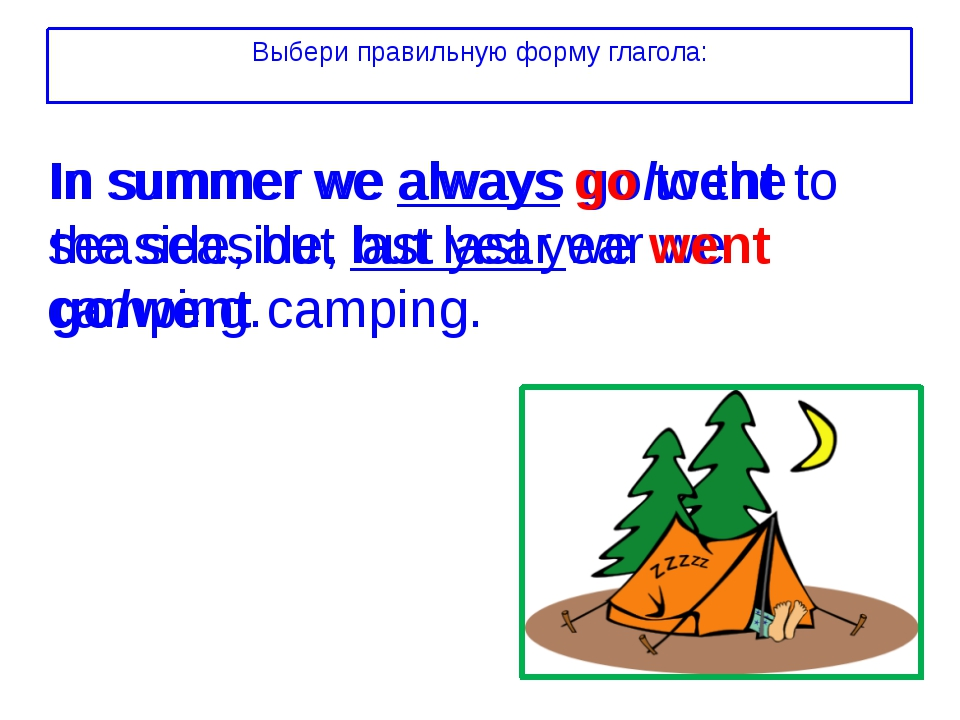 In summer we always go/went to the seaside, but last year we go/went camping.
