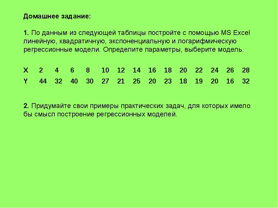Домашнее задание: 1. По данным из следующей таблицы постройте с помощью MS Ex...