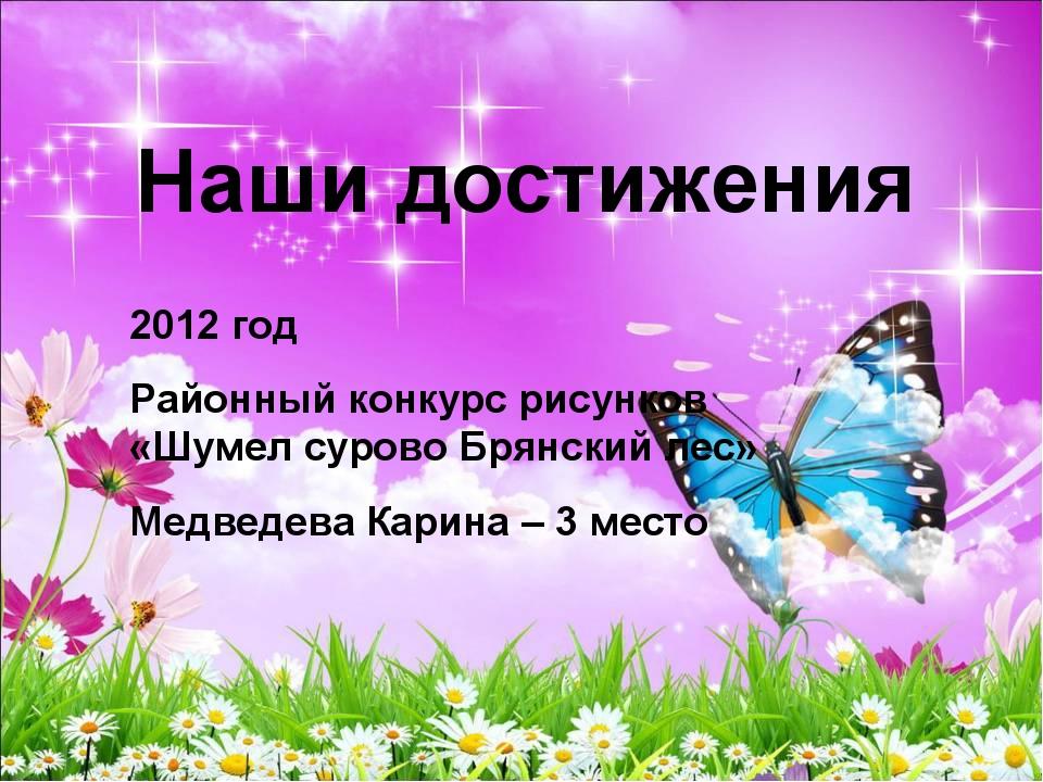 Наши достижения 2012 год Районный конкурс рисунков «Шумел сурово Брянский лес...