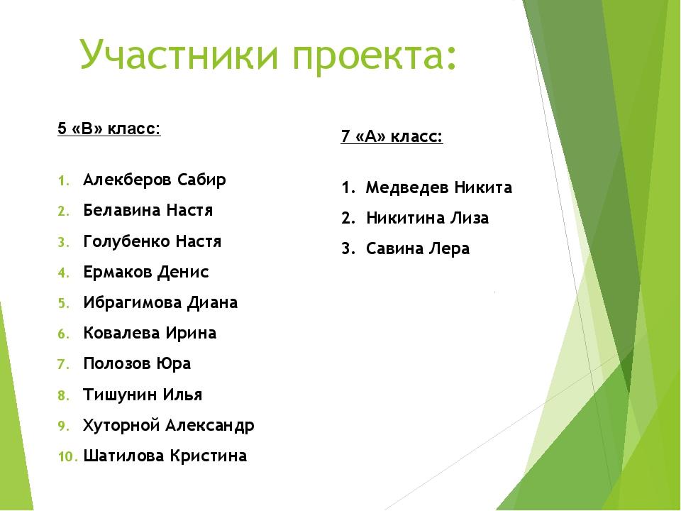 Участники проекта: 5 «В» класс: Алекберов Сабир Белавина Настя Голубенко Наст...