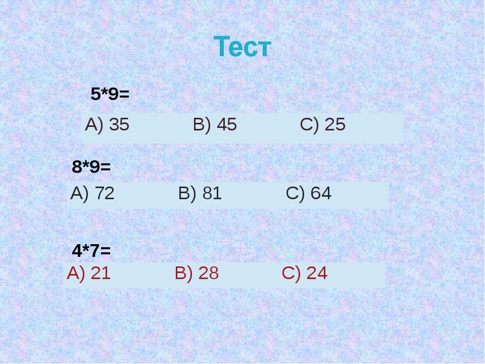 Тест 5*9= 8*9= 4*7= А)35 В)45 С) 25 А)72 В) 81 С)64 А)21 В)28 С) 24