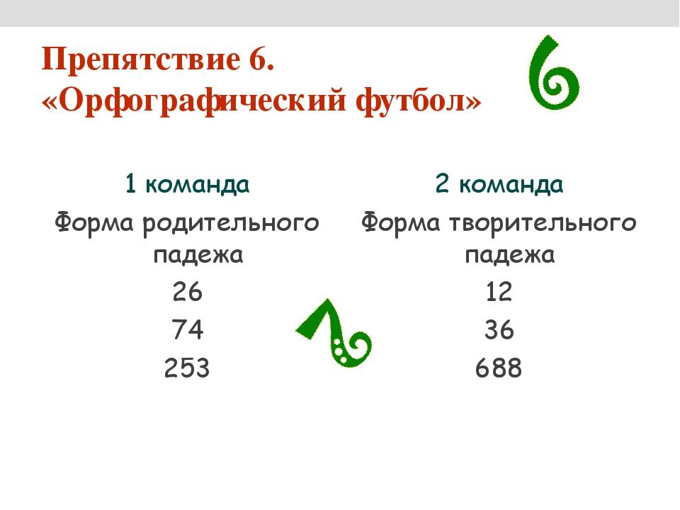 Препятствие 6. «Орфографический футбол» 1 команда Форма родительного падежа 2...