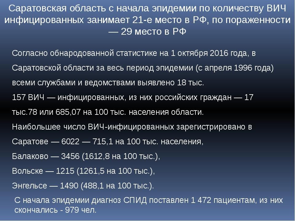 Саратовская область с начала эпидемии по количеству ВИЧ инфицированных занима...