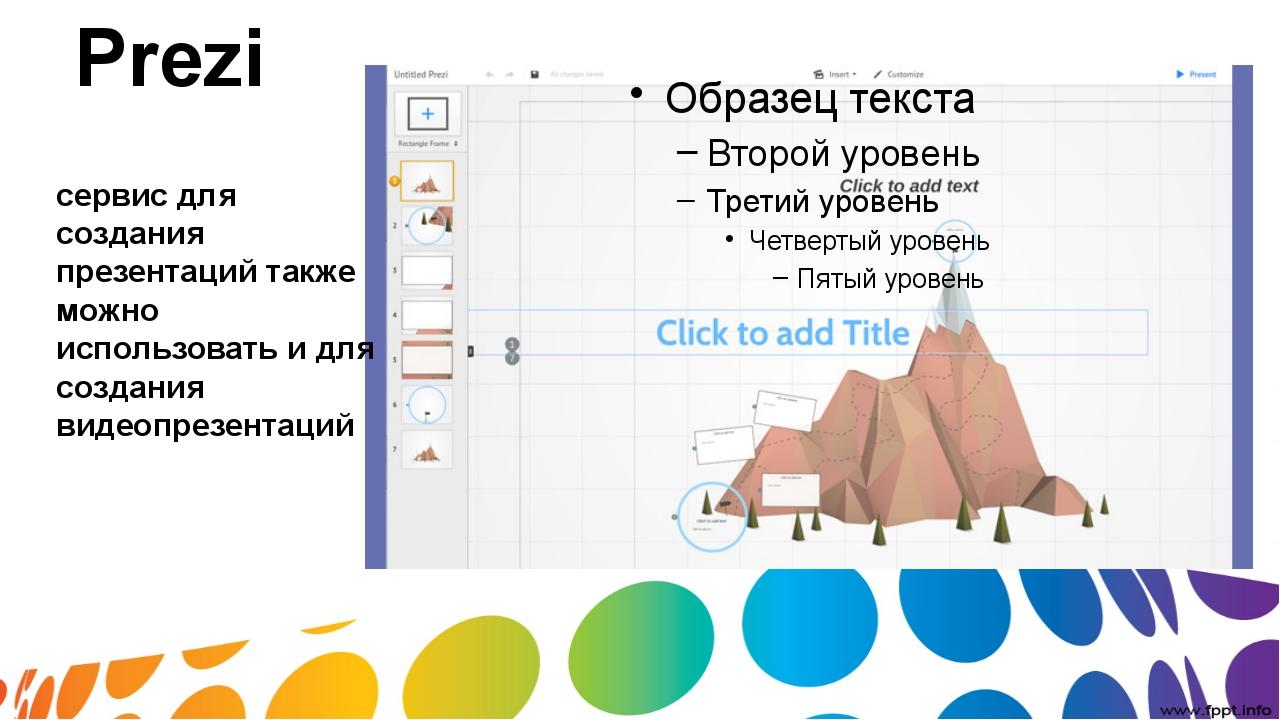 Prezi сервис для создания презентаций также можно использовать и для создания...