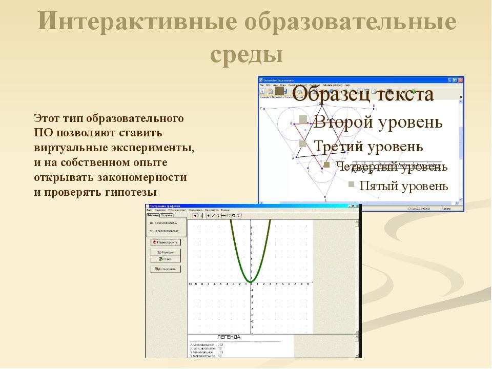 Интерактивные образовательные среды Этот тип образовательного ПО позволяют ст...