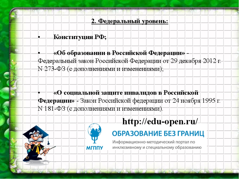 2.Федеральный уровень: •Конституция РФ; •«Об образовании в Р...