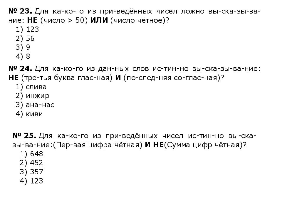 №23.Для какого из приведённых чисел ложно высказывание: НЕ(число >...