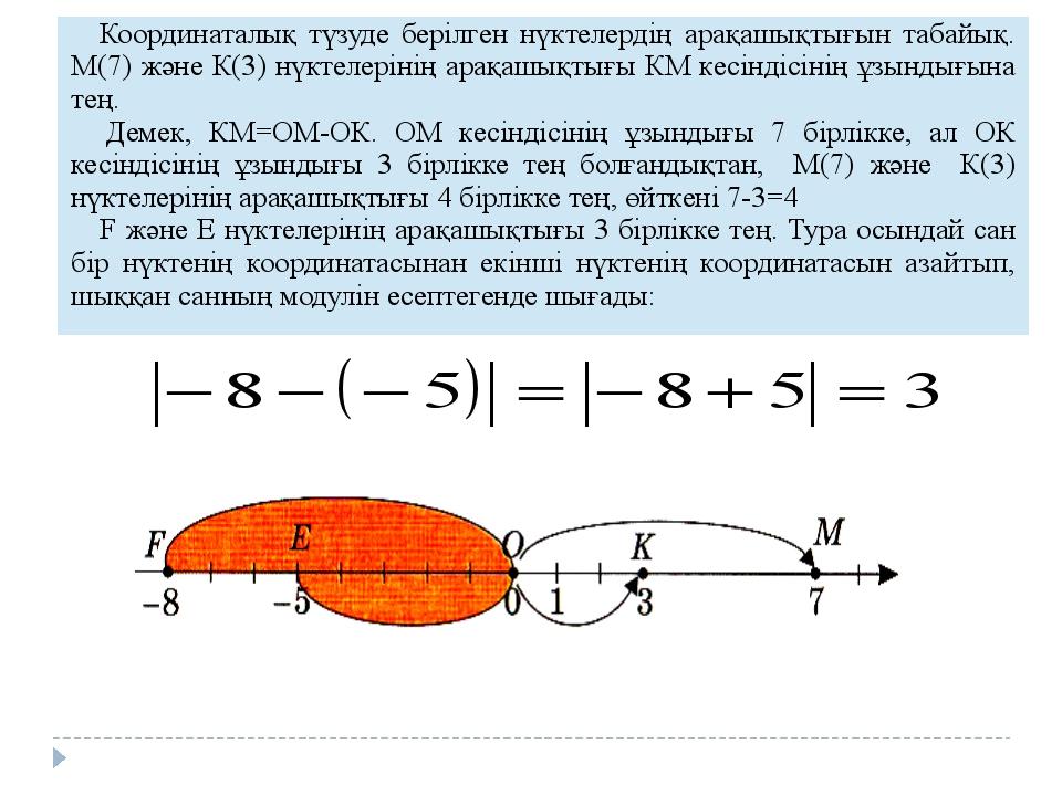 Координаталық түзуде берілген нүктелердің арақашықтығын табайық. М(7) жән...