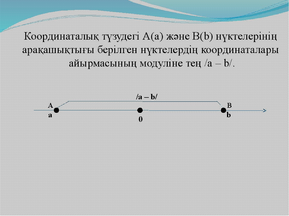 Координаталық түзудегі А(а) және В(b) нүктелерінің арақашықтығы берілген нүкт...