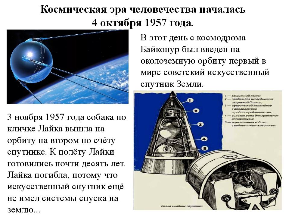 3 ноября 1957 года собака по кличке Лайка вышла на орбиту на втором по счёту...