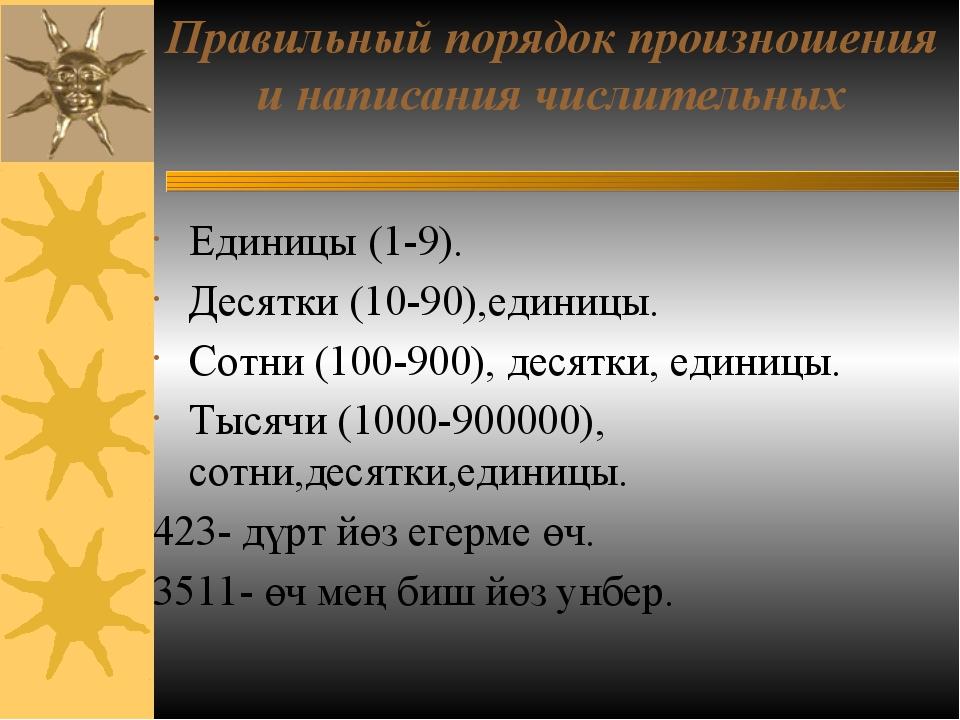 Правильный порядок произношения и написания числительных Единицы (1-9). Десят...