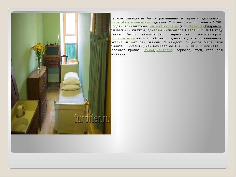 Учебное заведение было размещено в здании дворцовогофлигеляЕкатерининского...