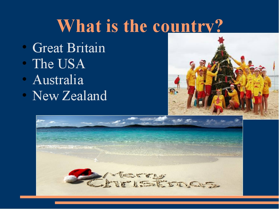 What is the country? Great Britain The USA Australia New Zealand