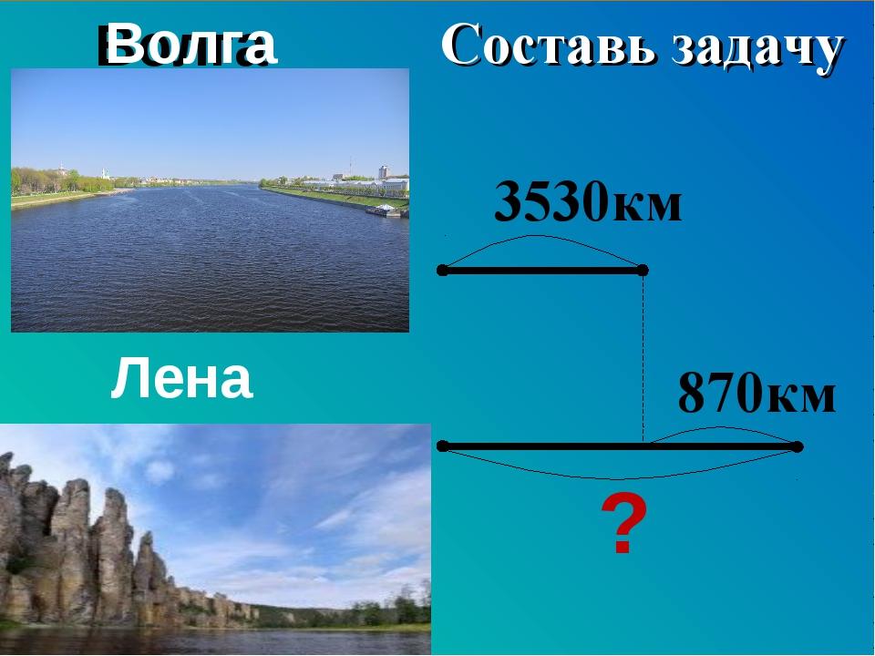 Волга Лена 3530км ? 870км Составь задачу Составь задачу Волга