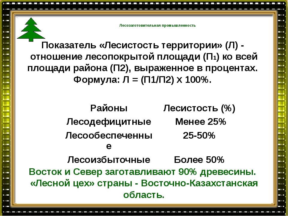 Лесозаготовительная промышленность Площадь лесного фонда: 28,8 млн. га, из н...