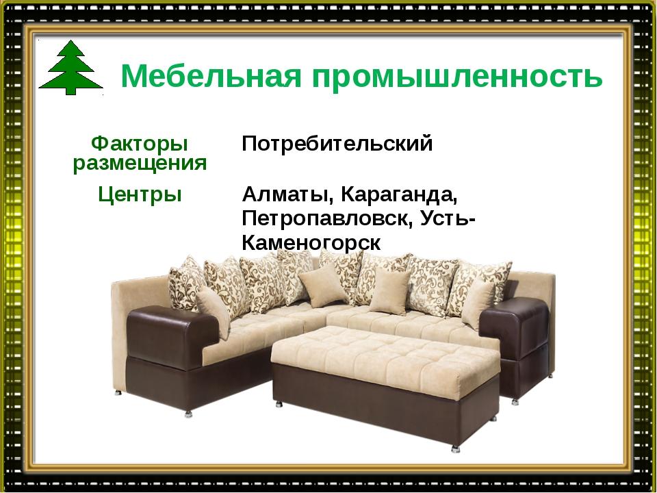 Мебельная промышленность Факторы размещения Потребительский Центры Алматы,Кар...