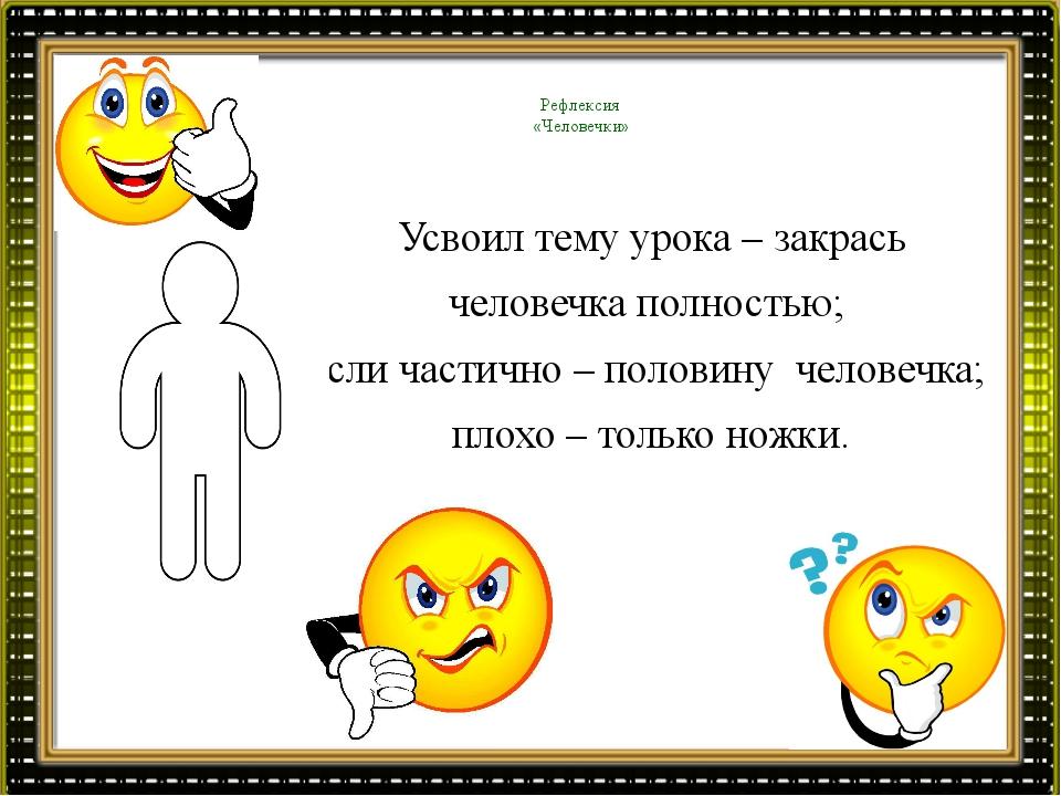Рефлексия «Человечки» Усвоил тему урока – закрась человечка полностью; если...