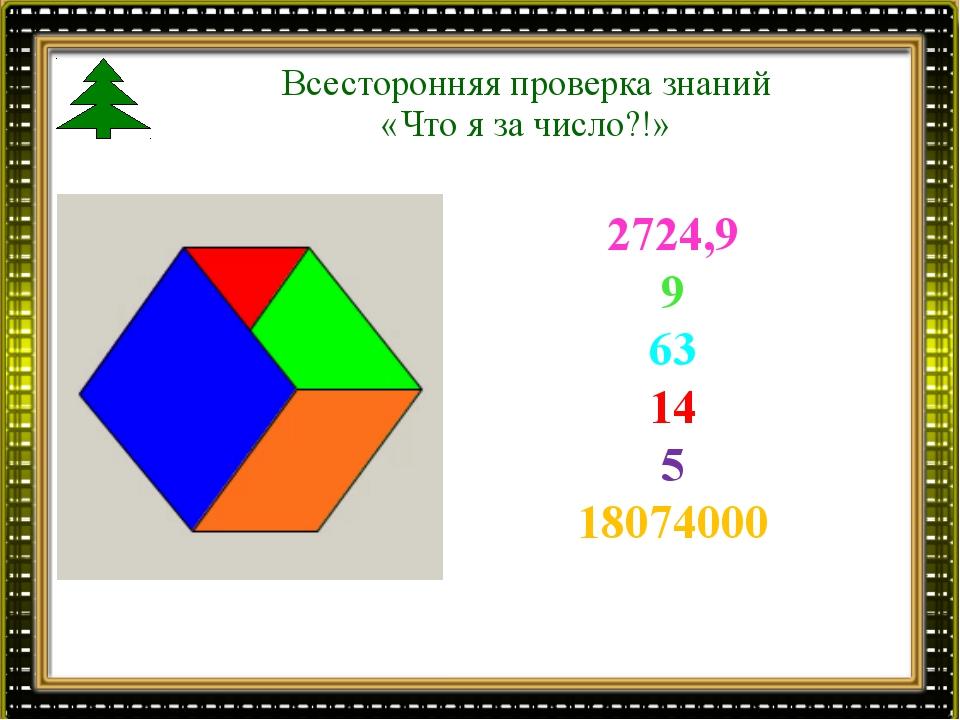 Всесторонняя проверка знаний «Что я за число?!» 2724,9 9 63 14 5 18074000