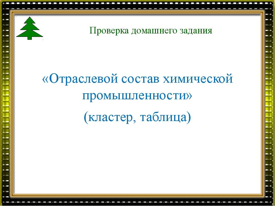 Проверка домашнего задания «Отраслевой состав химической промышленности» (кла...