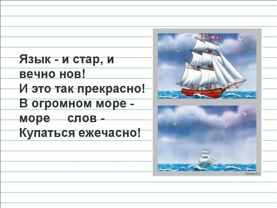 Язык - и стар, и вечно нов! И это так прекрасно! В огромном море - море слов...